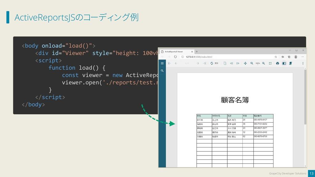 ActiveReportsJSのコーディング例 13 GrapeCity Developer ...