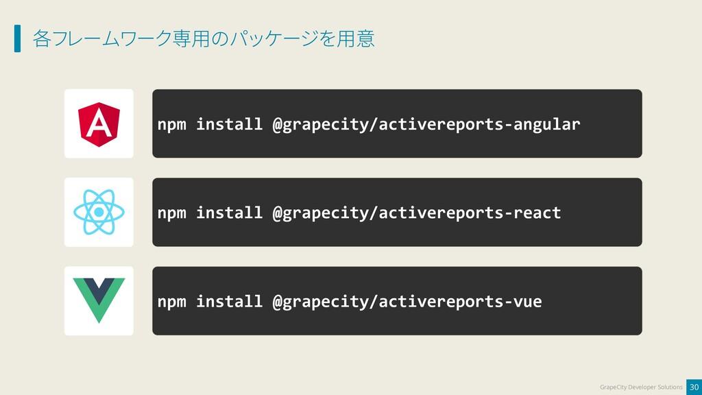 各フレームワーク専用のパッケージを用意 30 GrapeCity Developer Solu...