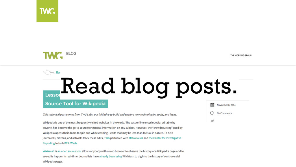 Read blog posts.
