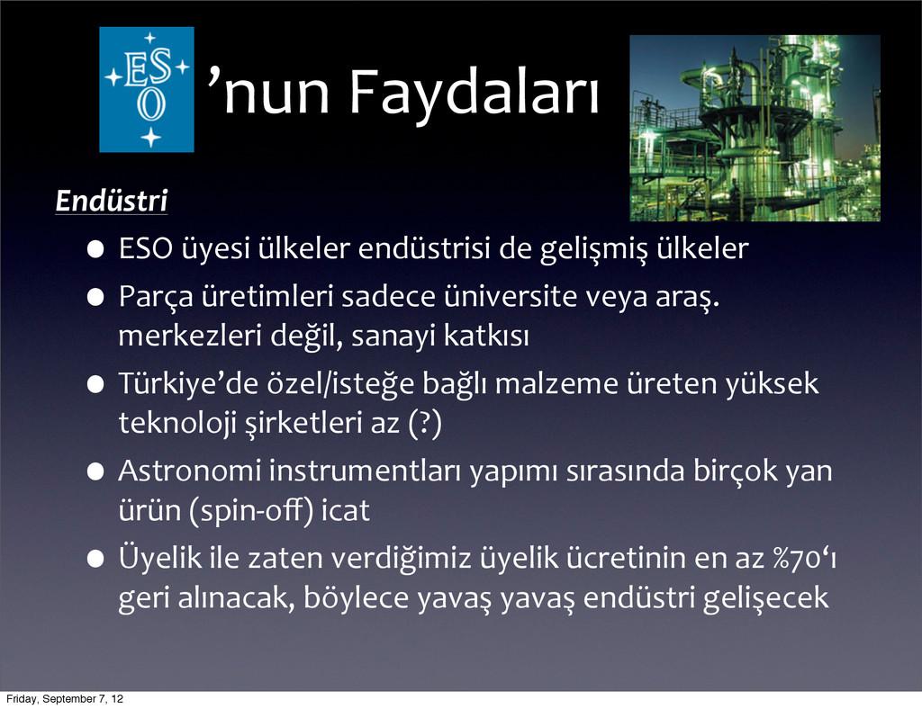 Endüstri •ESO üyesi ülkeler endüstrisi...