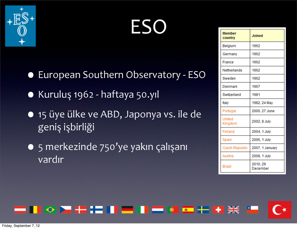 ESO •European Southern Observatory -‐...