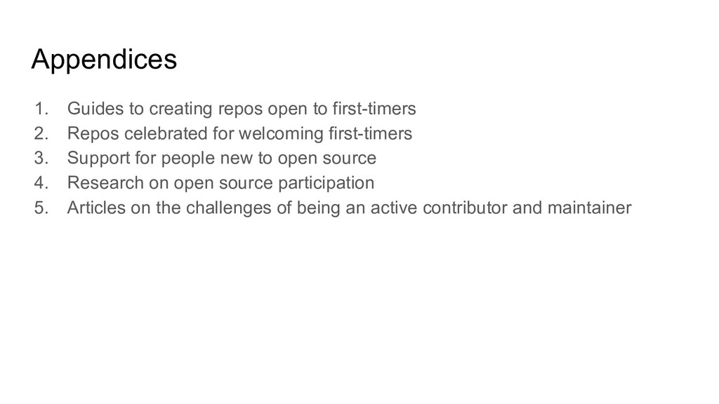 Appendices 1. Guides to creating repos open to ...