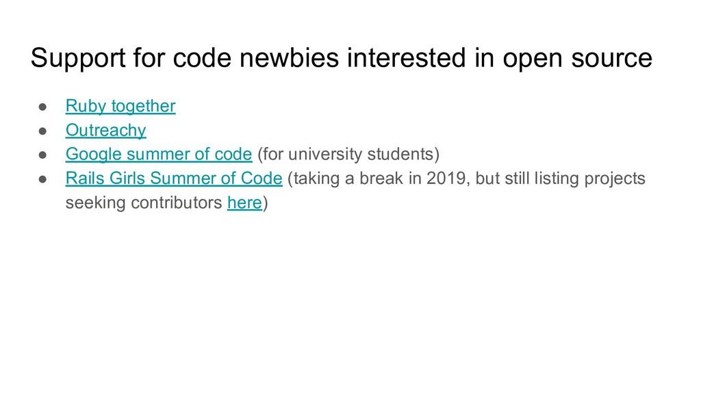 Support for code newbies interested in open sou...