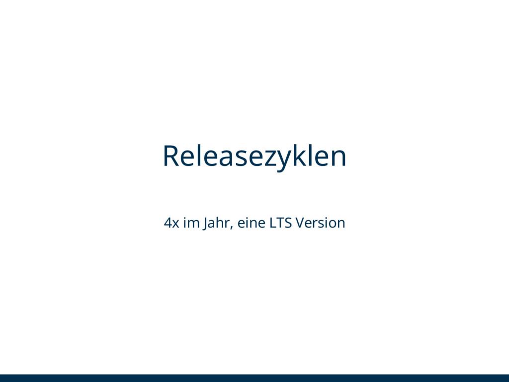 Releasezyklen 4x im Jahr, eine LTS Version