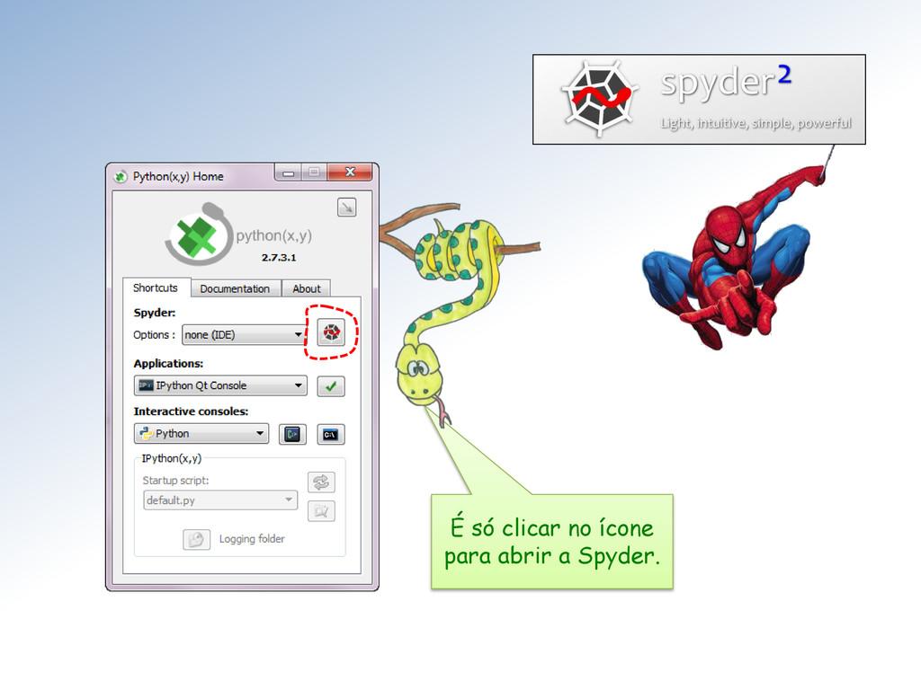 É só clicar no ícone para abrir a Spyder.