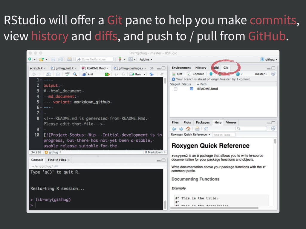 RStudio will offer a Git pane to help you make c...