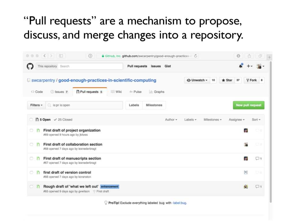"""""""Pull requests"""" are a mechanism to propose, dis..."""