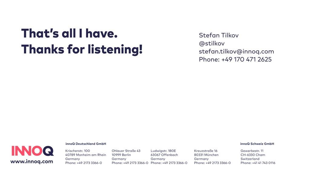 Stefan Tilkov   @stilkov  stefan.tilkov@innoq....