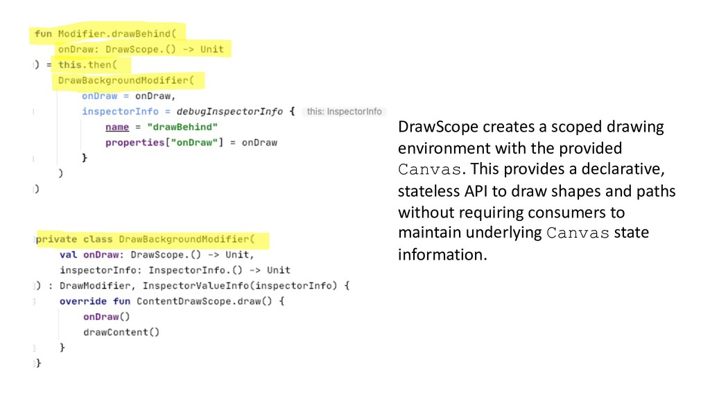 DrawScope creates a scoped drawing environment ...
