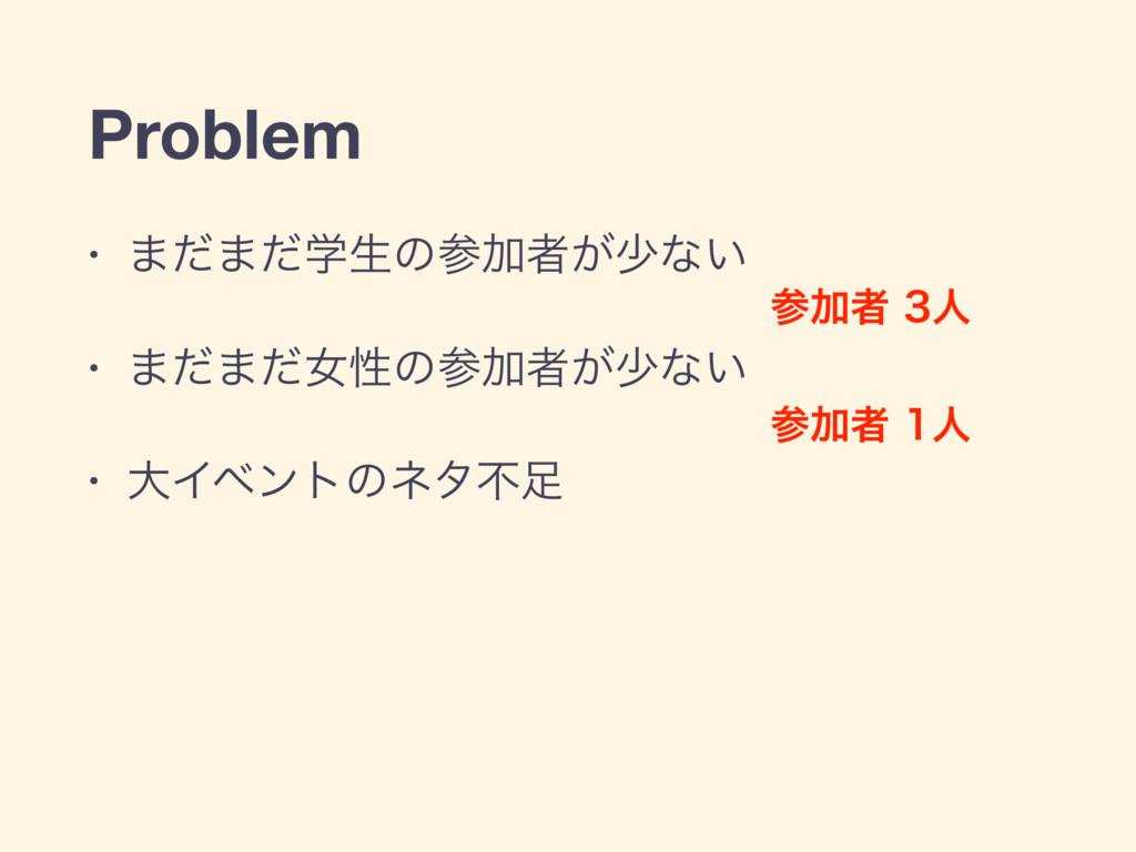Problem • ·ͩ·ֶͩੜͷՃऀ͕গͳ͍  • ·ͩ·ͩঁੑͷՃऀ͕গͳ͍  • େ...