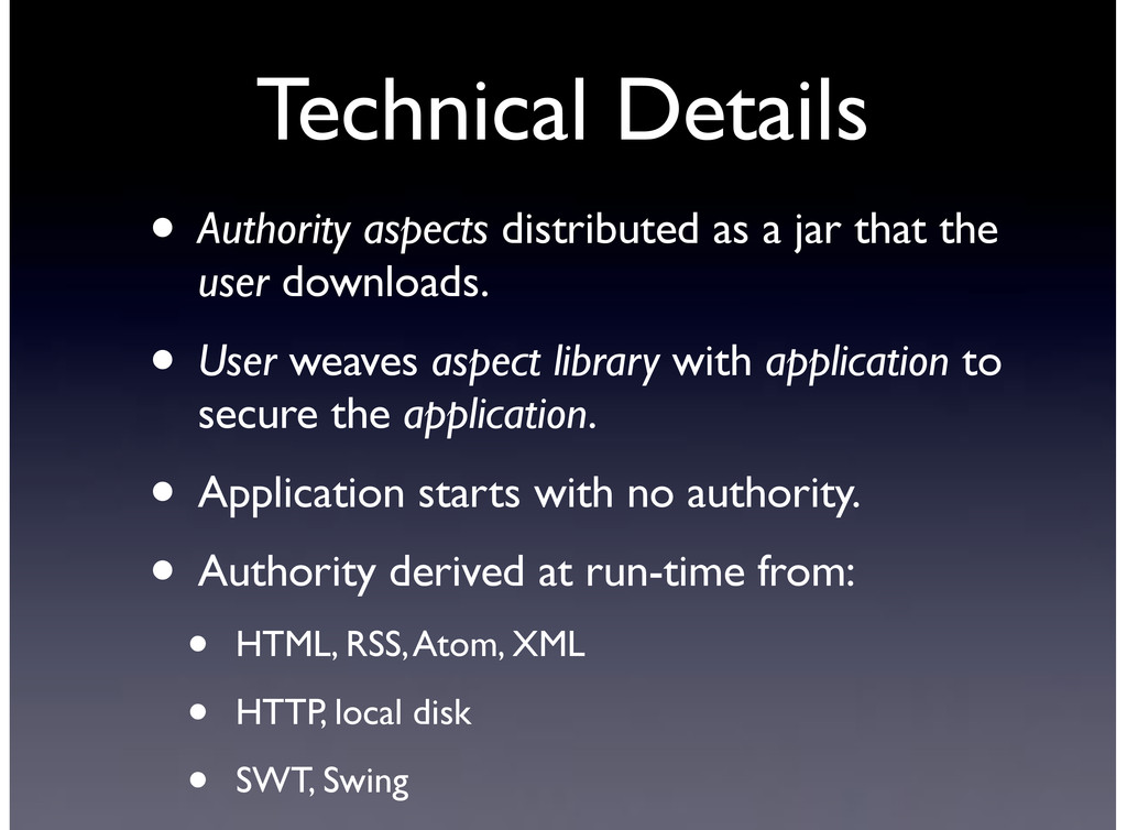 Technical Details • Authority aspects distribut...