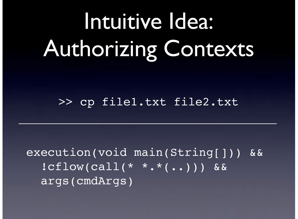 Intuitive Idea: Authorizing Contexts >> cp file...