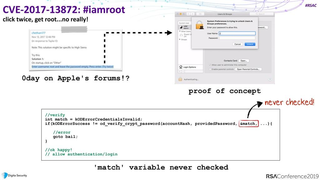 #RSAC CVE-2017-13872: #iamroot click twice, get...