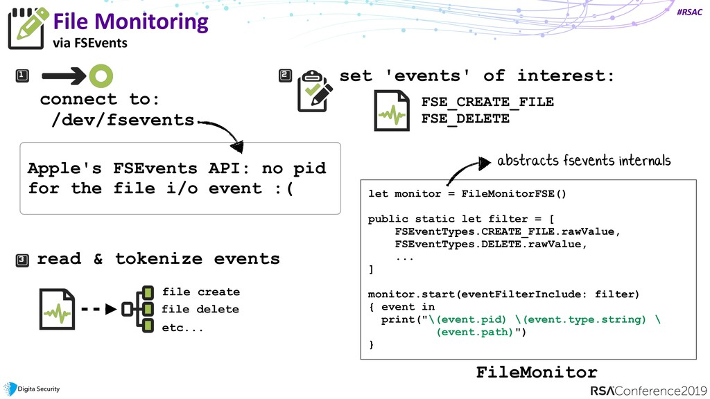 #RSAC File Monitoring via FSEvents connect to: ...