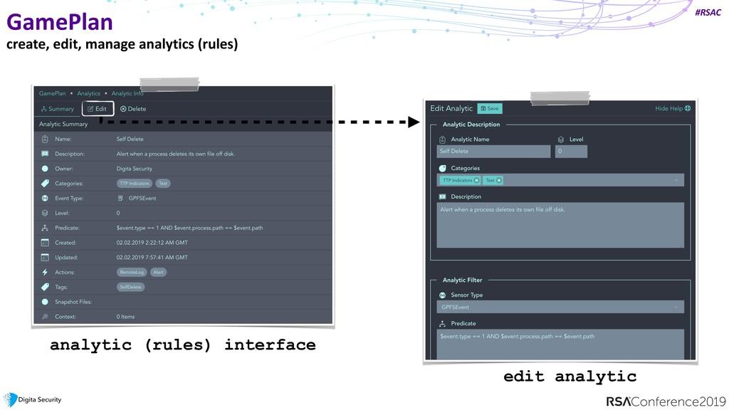 #RSAC GamePlan create, edit, manage analytics (...