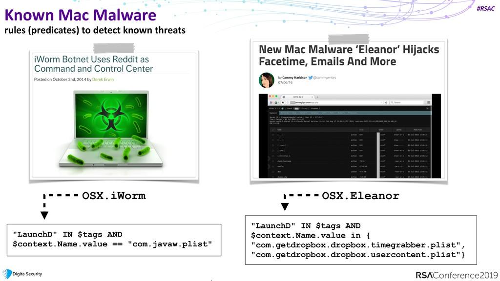 #RSAC Known Mac Malware rules (predicates) to d...