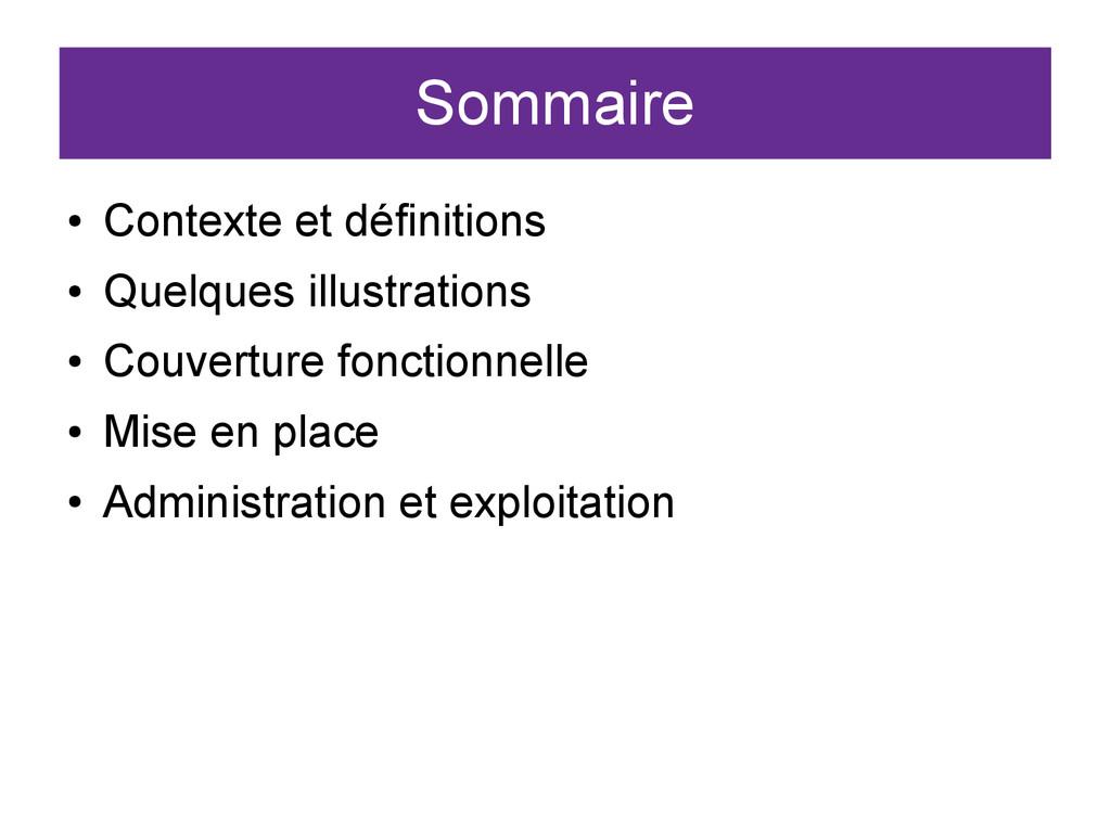 Sommaire ● Contexte et définitions ● Quelques i...