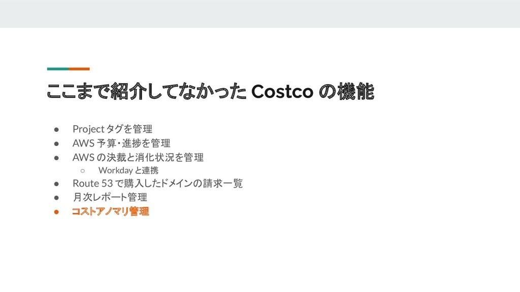 ここまで紹介してなかった Costco の機能 ● Project タグを管理 ● AWS 予...