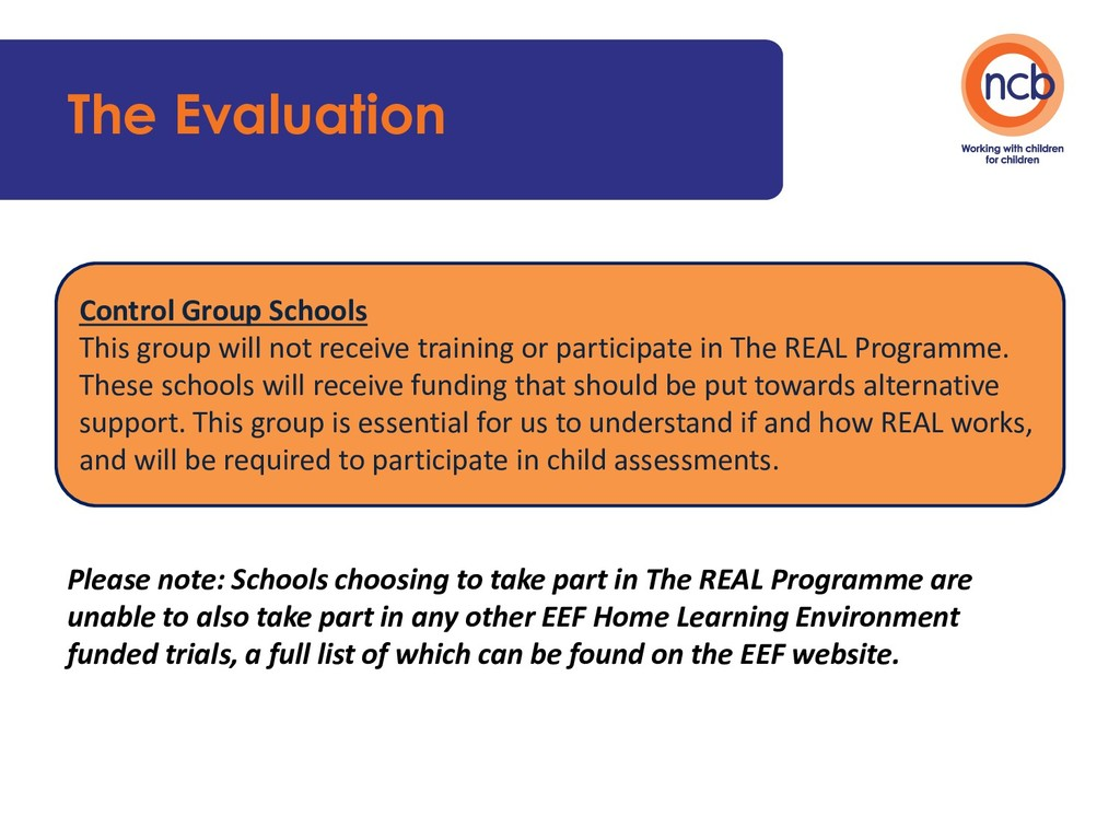 The Evaluation Please note: Schools choosing to...