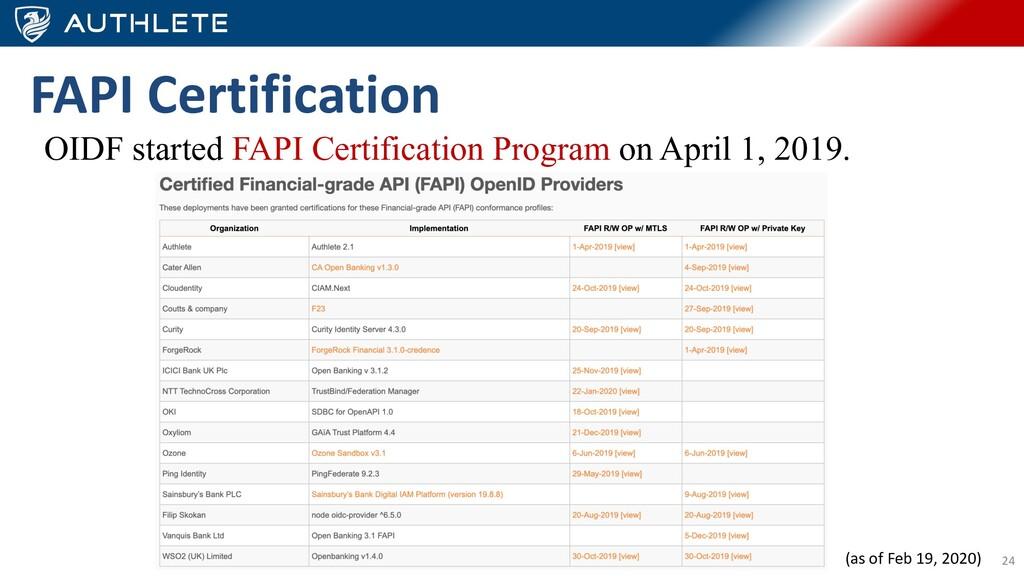 24 FAPI Certification OIDF started FAPI Certifi...