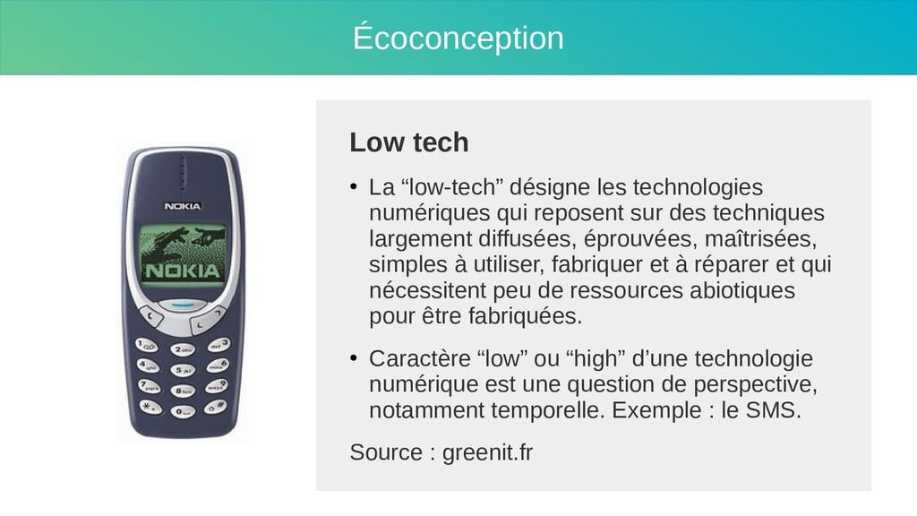 """Écoconception Low tech ● La """"low-tech"""" désigne ..."""
