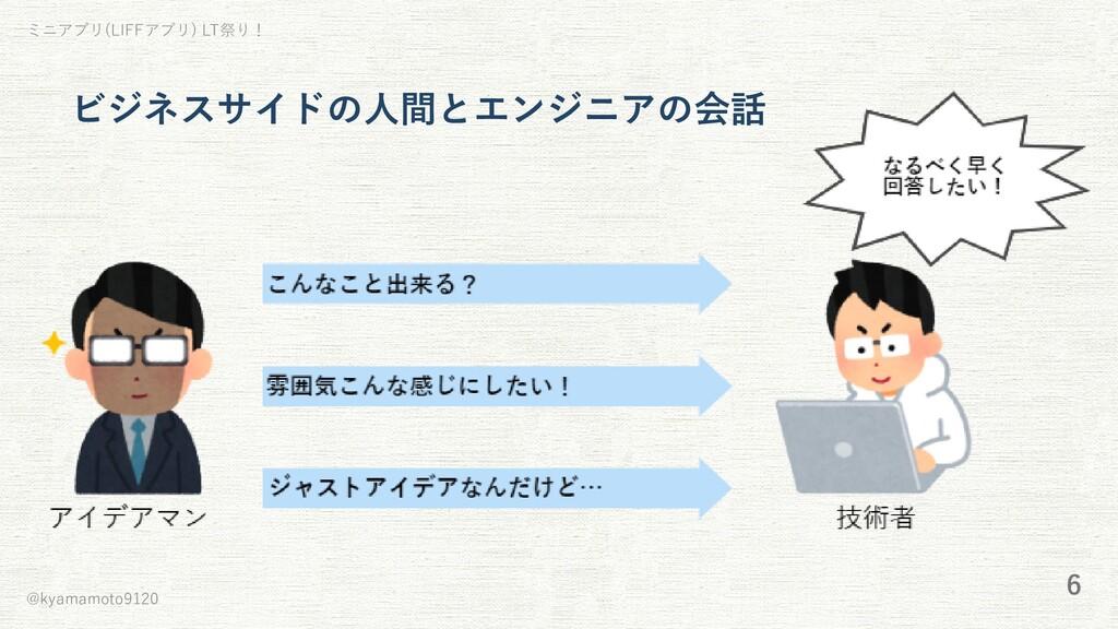 ミニアプリ(LIFFアプリ) LT祭り! ビジネスサイドの⼈間とエンジニアの会話 @kyama...
