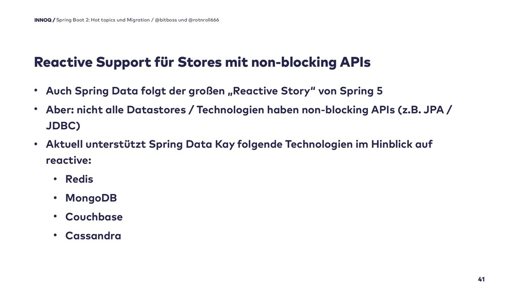 Reactive Support für Stores mit non-blocking AP...