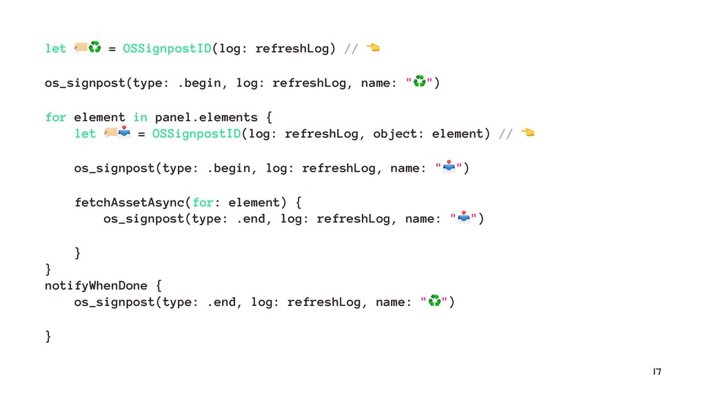 let !♻ = OSSignpostID(log: refreshLog) // os_si...
