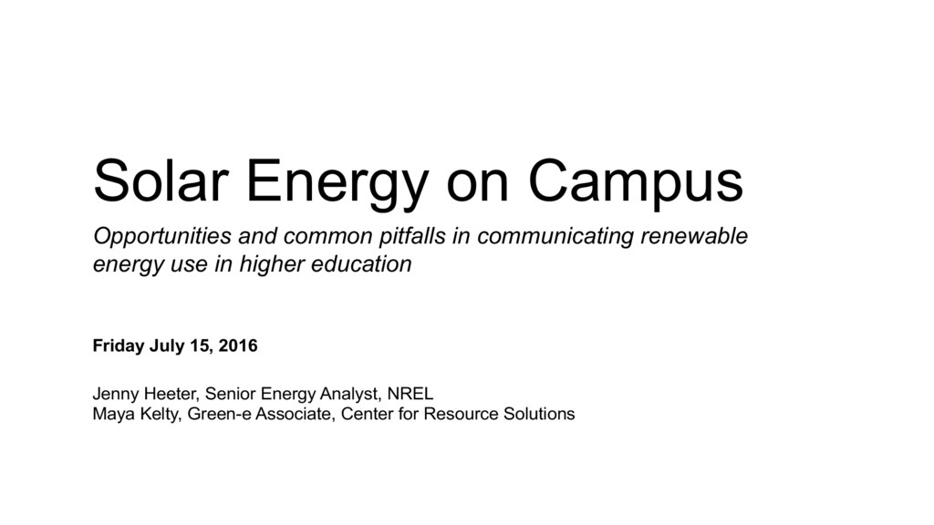 Solar Energy on Campus Opportunities and common...