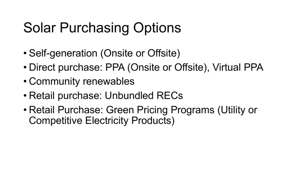 Solar Purchasing Options • Self-generation (Ons...
