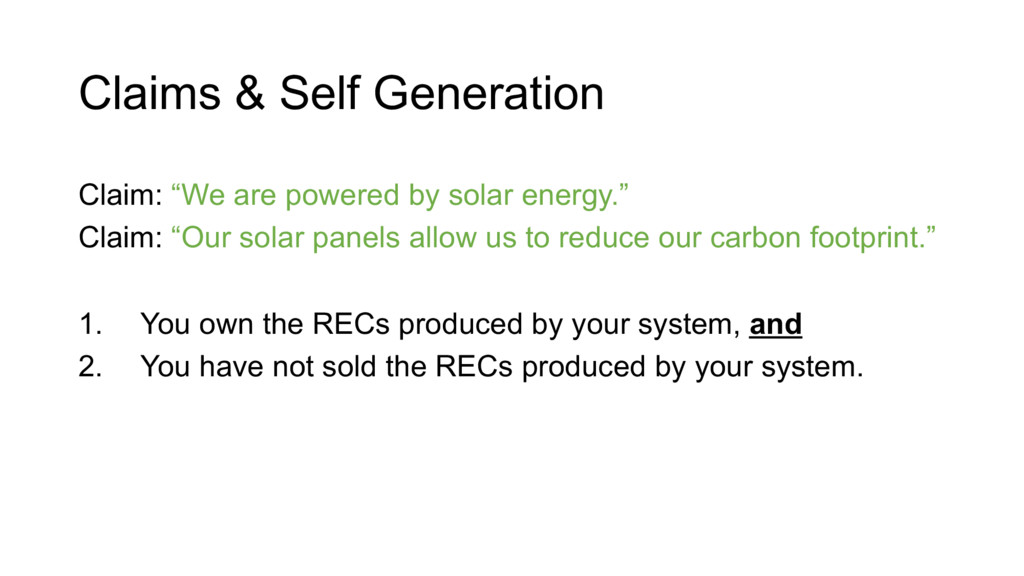 "Claims & Self Generation Claim: ""We are powered..."