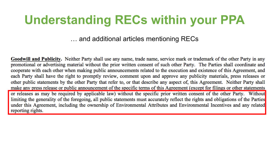 Understanding RECs within your PPA … and additi...