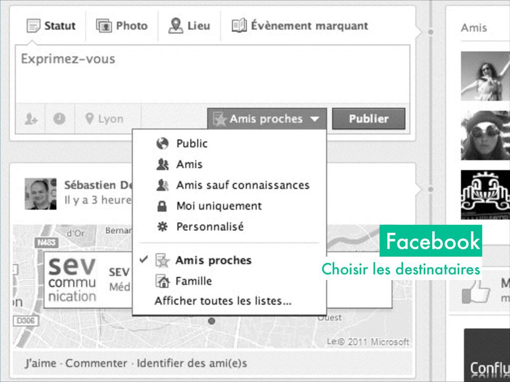 Facebook Choisir les destinataires