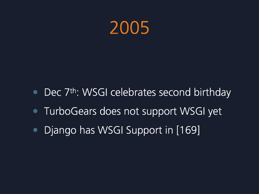 2005 • Dec 7th: WSGI celebrates second birthday...