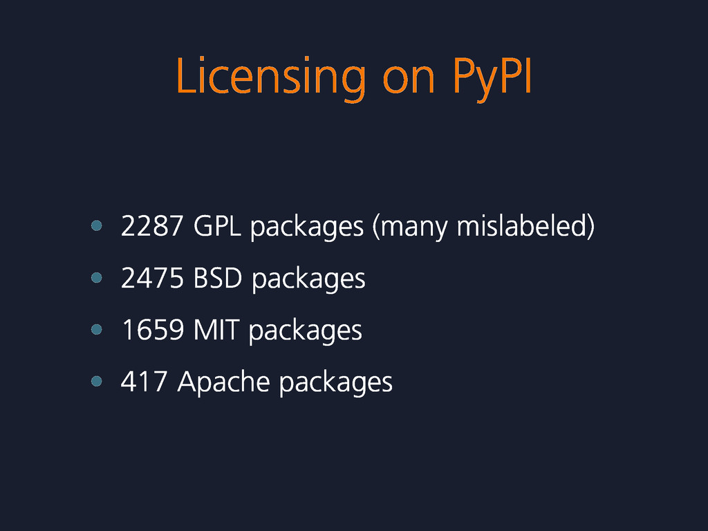 Licensing on PyPI • 2287 GPL packages (many mis...