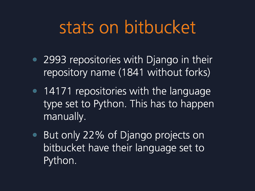 stats on bitbucket • 2993 repositories with Dja...