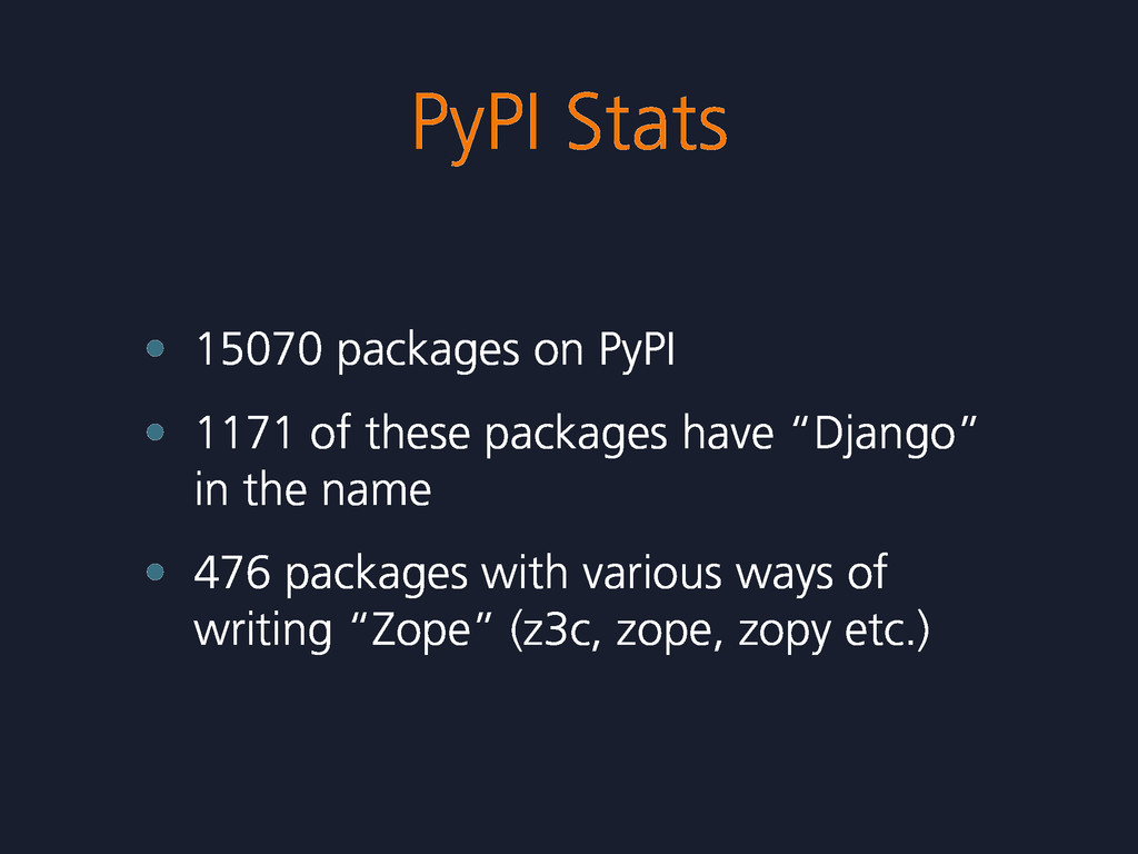 PyPI Stats • 15070 packages on PyPI • 1171 of t...