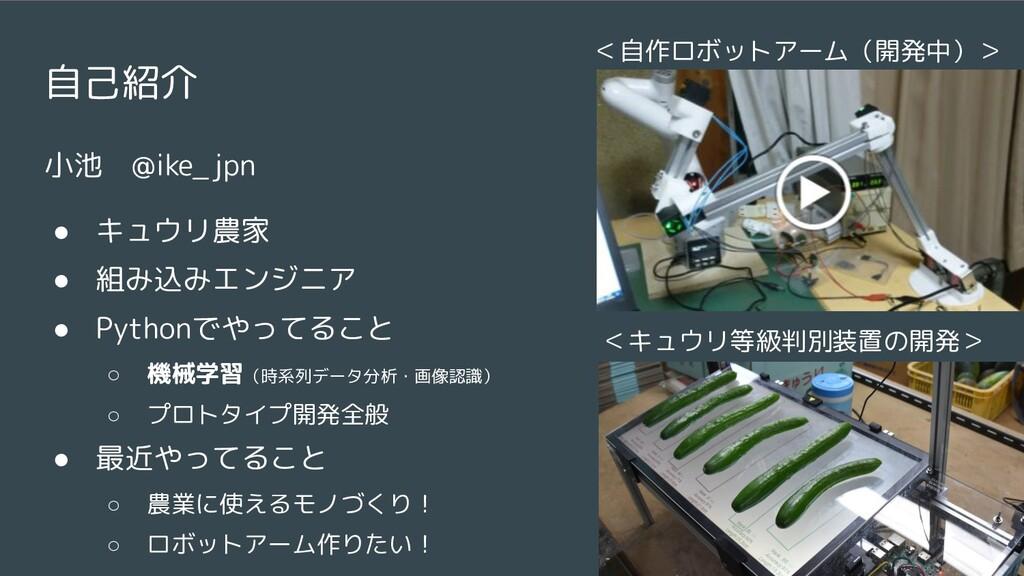 自己紹介 小池 @ike_jpn ● キュウリ農家 ● 組み込みエンジニア ● Pythonで...
