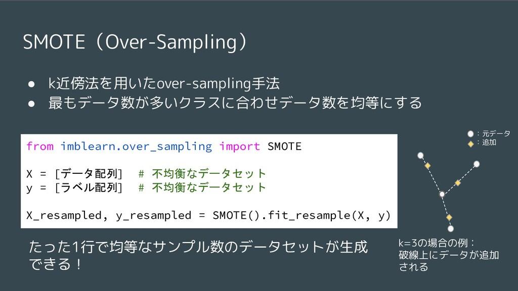 SMOTE(Over-Sampling) ● k近傍法を用いたover-sampling手法 ...