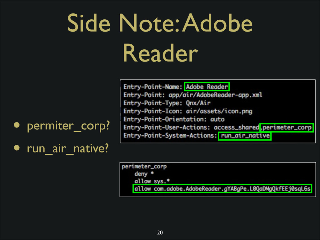 Side Note: Adobe Reader • permiter_corp? • run_...