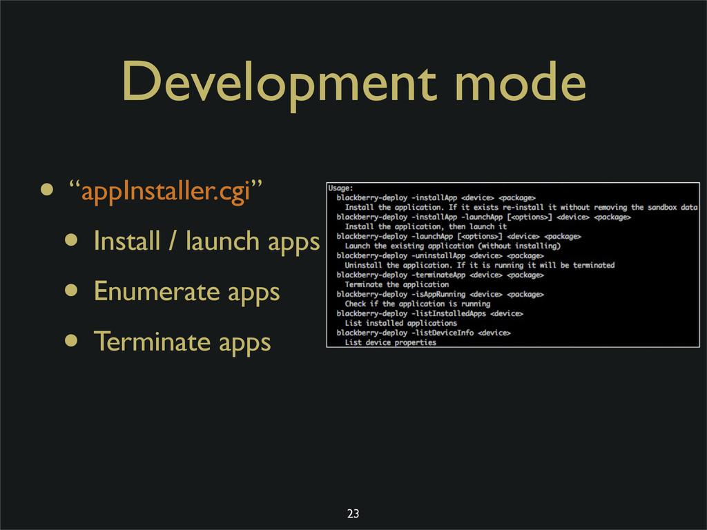 "Development mode • ""appInstaller.cgi"" • Install..."