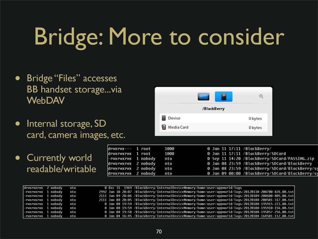 """Bridge: More to consider • Bridge """"Files"""" acces..."""
