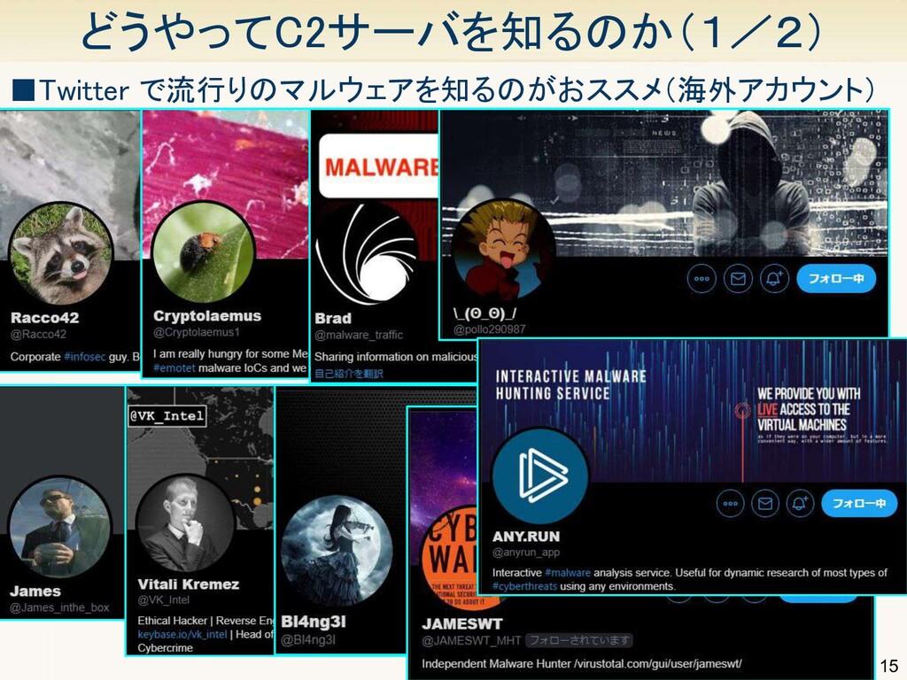 15 どうやってC2サーバを知るのか(1/2) ■Twitter で流行りのマルウェアを知る...