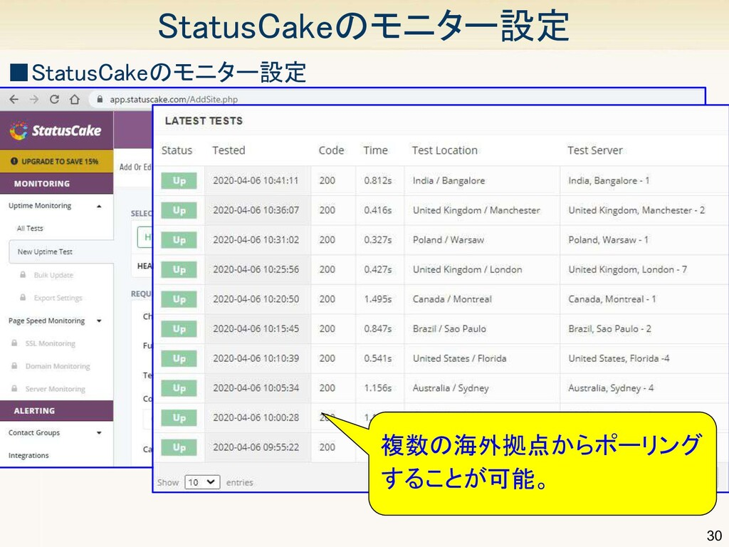 30 StatusCakeのモニター設定 ■StatusCakeのモニター設定 複数の海外...