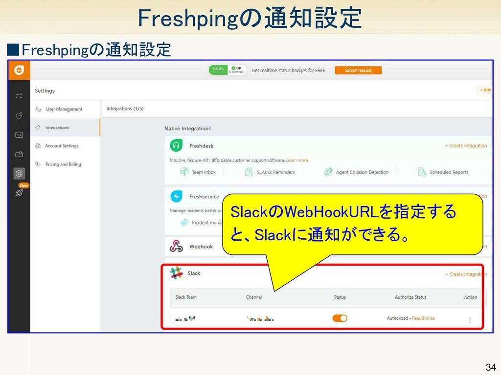 34 Freshpingの通知設定 ■Freshpingの通知設定 SlackのWebHo...