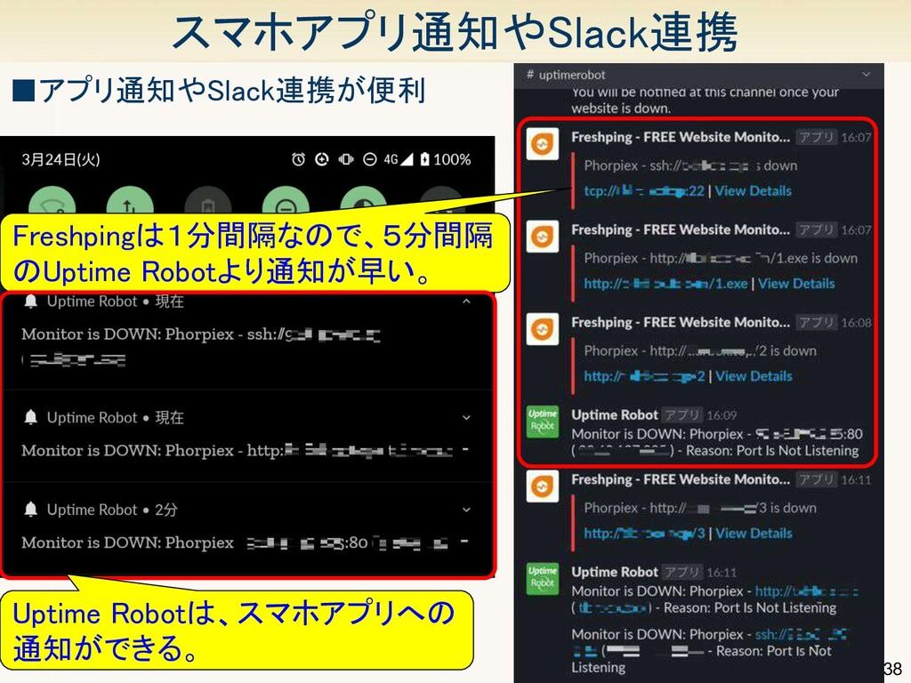 38 スマホアプリ通知やSlack連携 ■アプリ通知やSlack連携が便利 Freshpi...