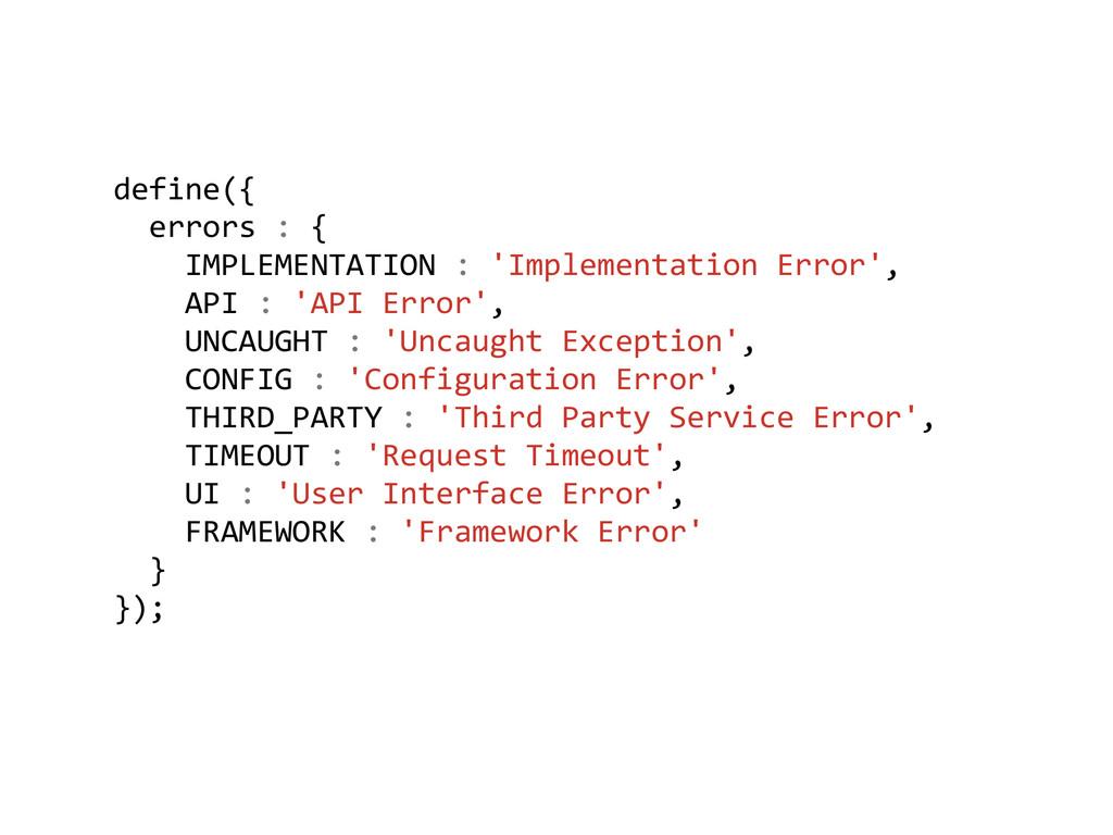 define({    errors : {   ...