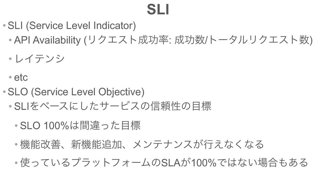 SLI • SLI (Service Level Indicator) • API Avail...