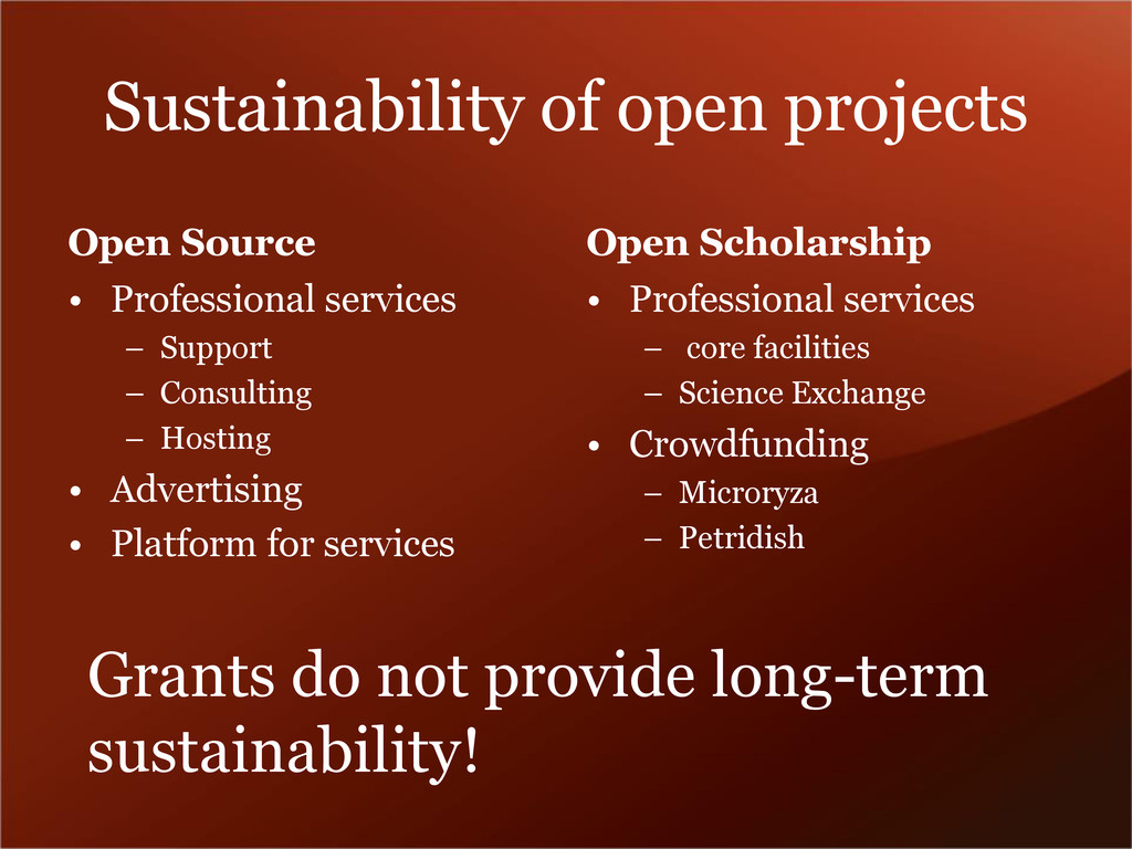 Sustainability of open projects Open Source • P...