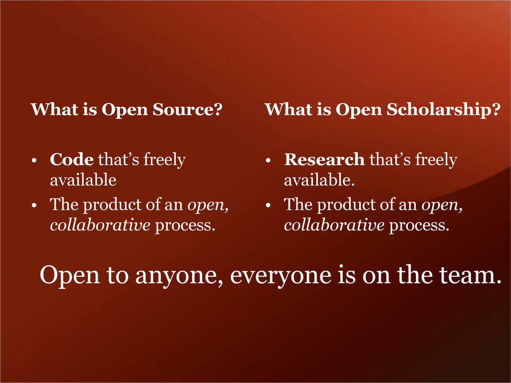 What is Open Source? • Code that's freely avail...